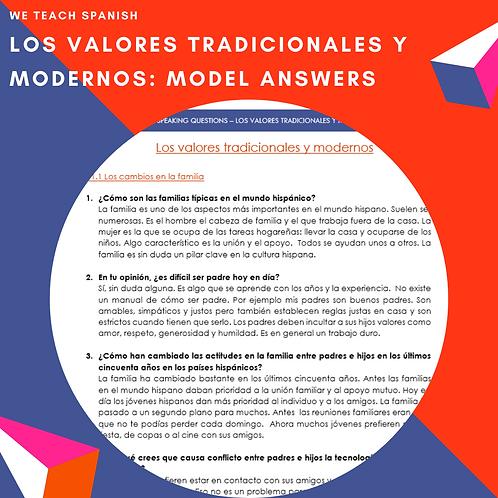 Los valores tradicionales y modernos: model answers