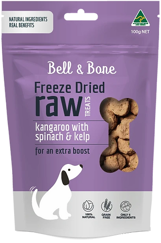 Freeze Dried Raw Dog Treats: Kangaroo with Spinach and Kelp