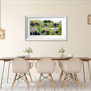 Dining room displaying wall portrait series