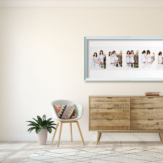 Hallway with a framed series of children photos