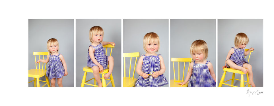 Toddler photoshoot series in the studio with a yellow chair