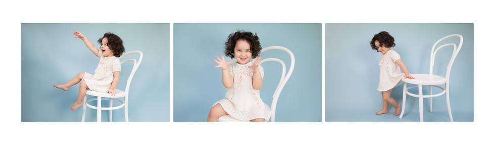 Series of 3 fun toddler photos with a white chair on blue background by ANgela Scott photographer
