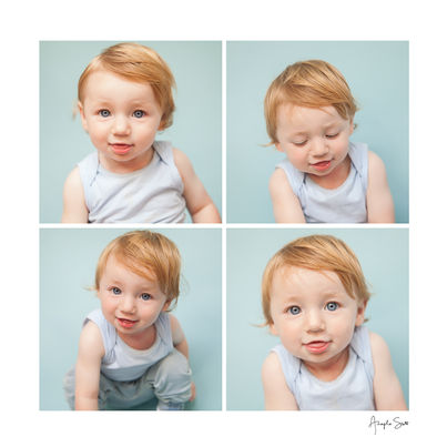 Series of a baby photoshoot close-up in the studio