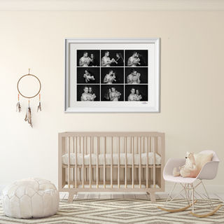 Black and white series of photos framed in a baby room