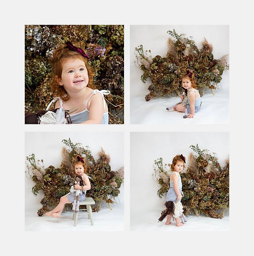 Series of 4 photos of a toddler having fun with props while posing in the studio of Angela Scott Photographer