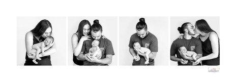 Black and white family series with newborn baby in studio