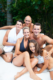 Location outdoor family photoshoot at home in swimwear