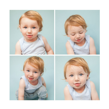 Child close-up 4 series of images in a professional studio photoshoot with Angela Scott photography
