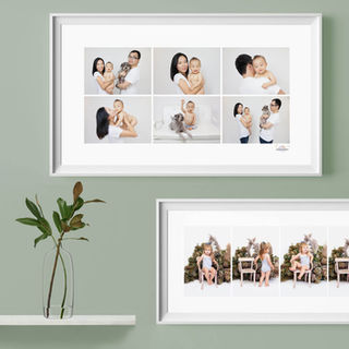 Two series of framed studio portraits hanging on a wall