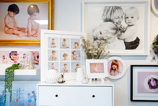 Framed portraits showing a small selection of props and outfits for creative newborn and baby photography