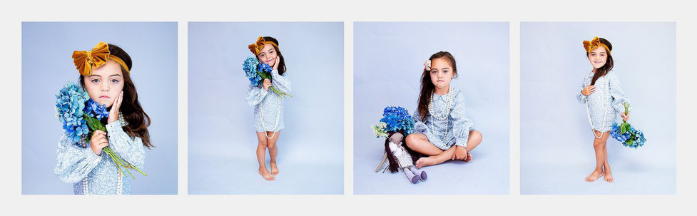 Child photography series of 4 studio photos with flowers on blue background