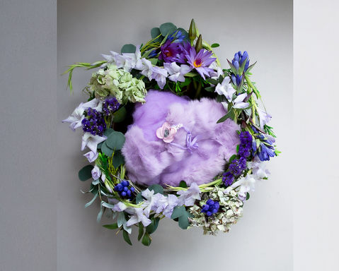 A beautiful floral wreath perfect for photographing your newborn baby in the studio