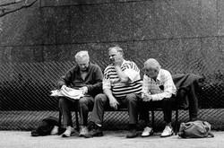 Three men on bench