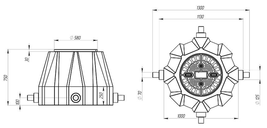 пластиковый колодец КС-3, чертеж