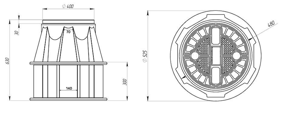 Кабельный колодец КС-2, точные размеры, чертеж
