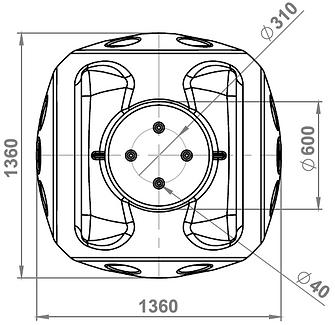 полиэтиленовый колодец ККТ-2 с металлокаркасом чертеж, DWG