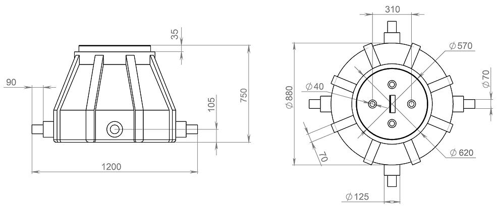 пластиковый колодец ККТ-1, чертеж