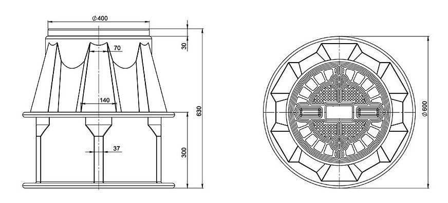 Кабельный колодец КС-2-2, точные размеры, чертеж
