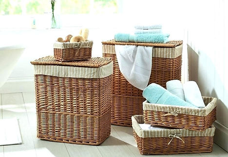 Laundry baskets with blue towels