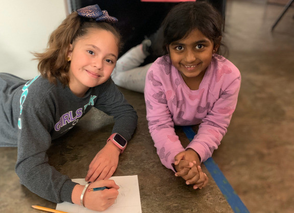 Bella and Vibha hard at work during After School