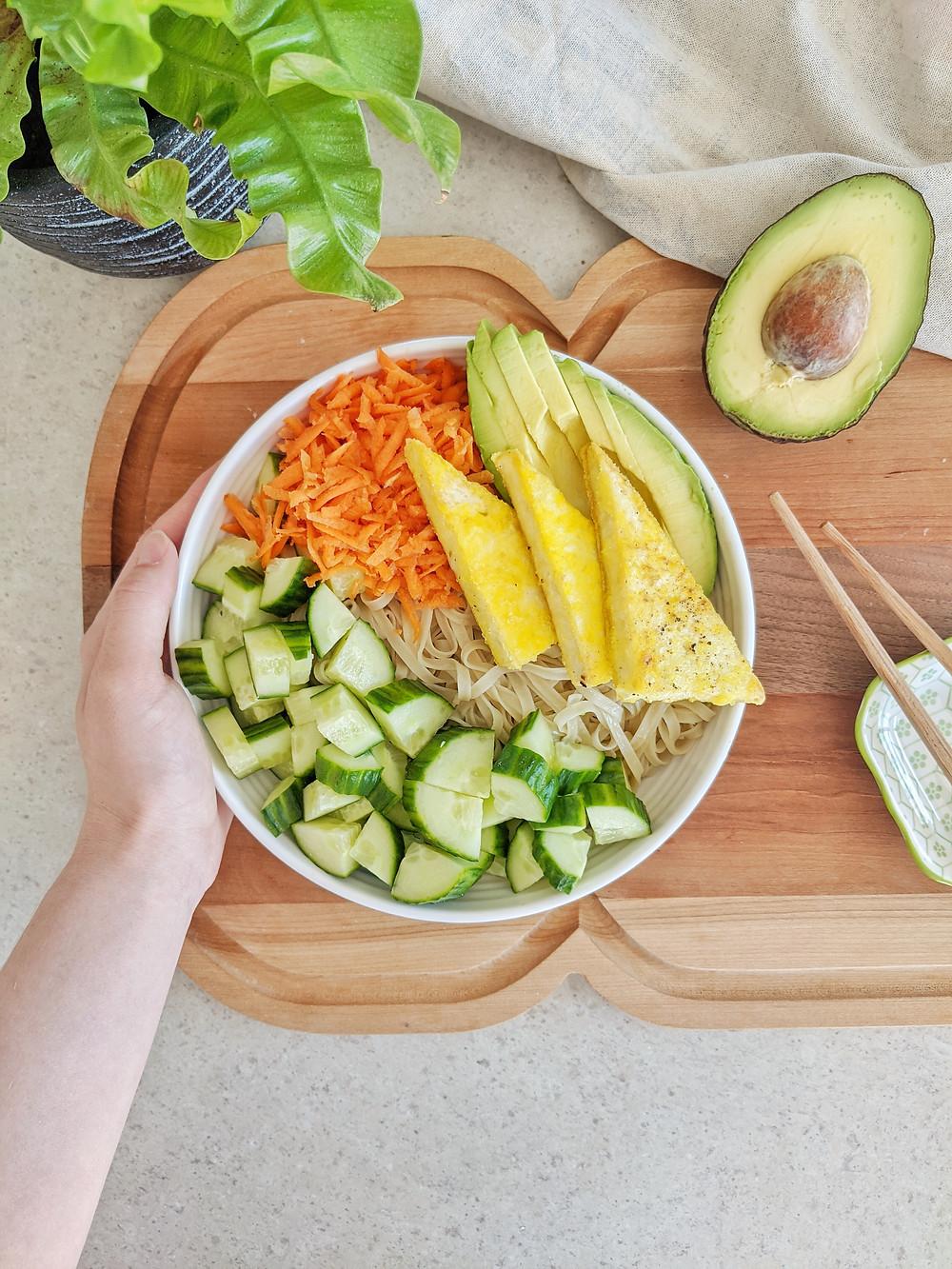 Bol asiatique et légumes végétalien