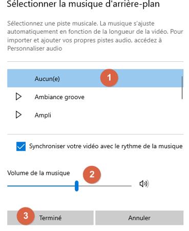 Réglage du son pour l'audio de votre vidéos créée avec Photos de Windows 10
