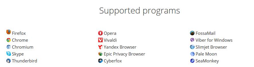 Une liste complète des logiciels pouvant être optimisés par Speedyfox