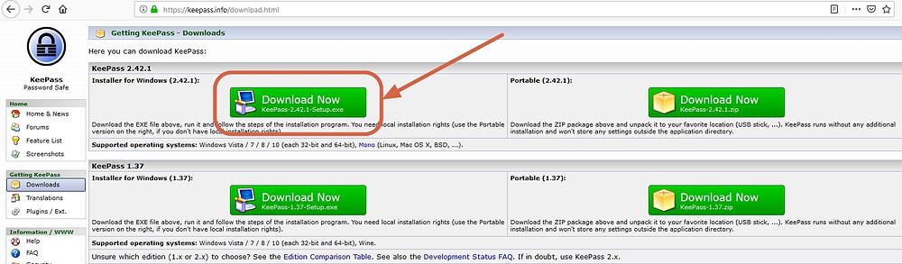 A partir du site de KeePass, téléchargez l'application pour gérer vos mots de passe.