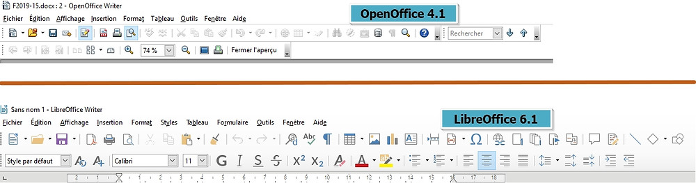 Aperçu des menus respectifs d'OpenOffice et LibreOffice