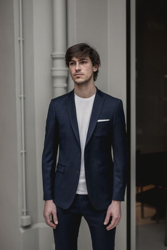 Costume bleu flanelle business