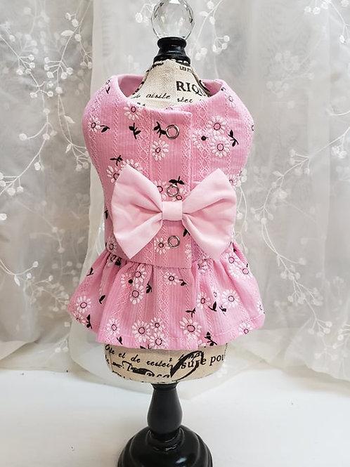 Coquine style harnais rose motif floraux
