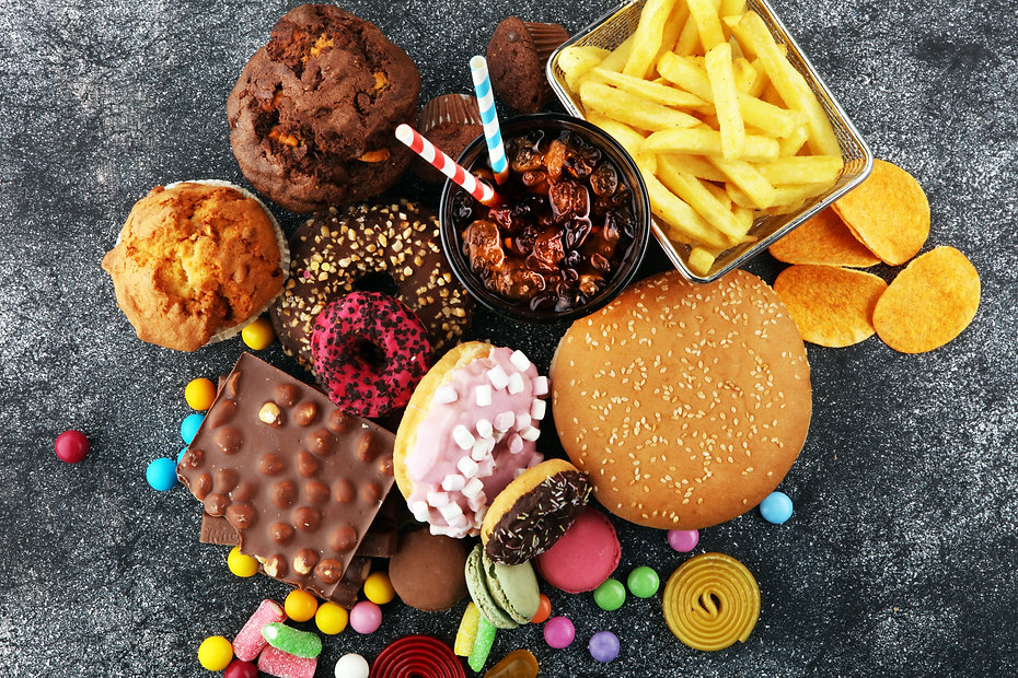 Unhealthy products. food bad for figure,