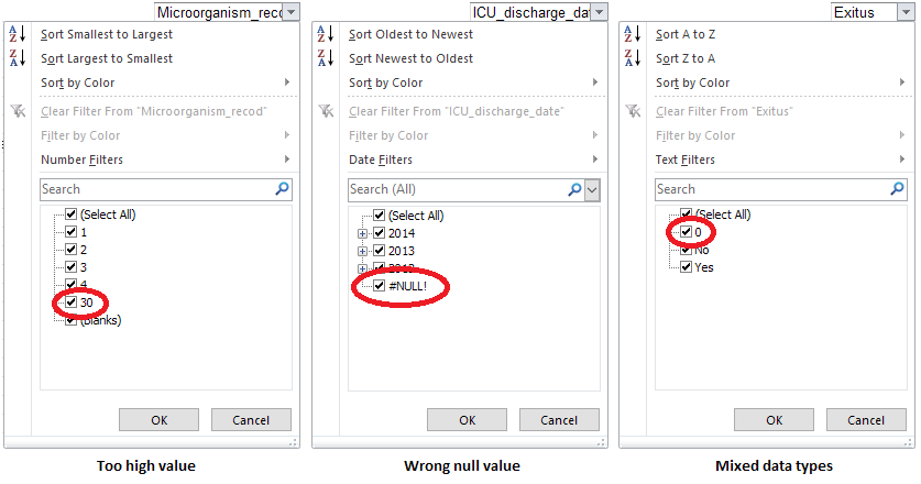 Different types of anomalous values identified with the AutoFilter