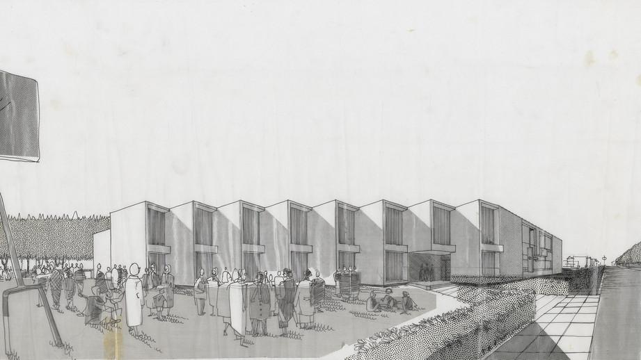 École Marie-Favery, Titre: Perspective, BanQ, Fonds PGL Architectes