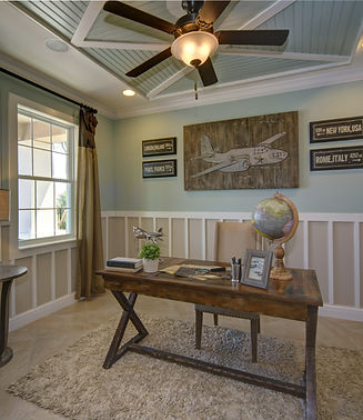 Office with wainscoting and tray ceiling