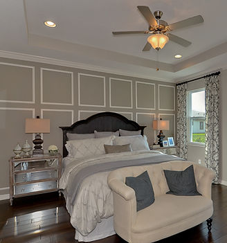 Bedroom interior design in a builder's model home