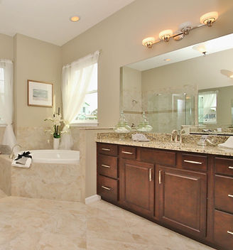 Large master bathroom in a DR Horton model home