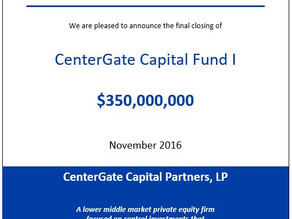 CenterGate Capital Closes $350M Inaugural Fund at Hardcap