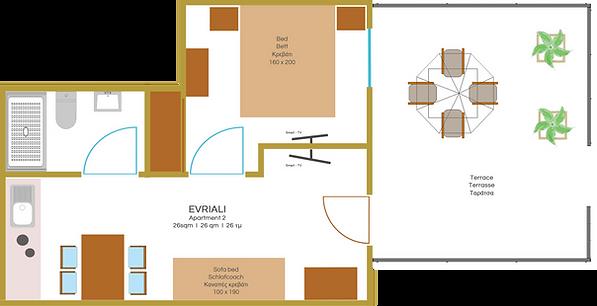 Raumaufteilung Apartment 2