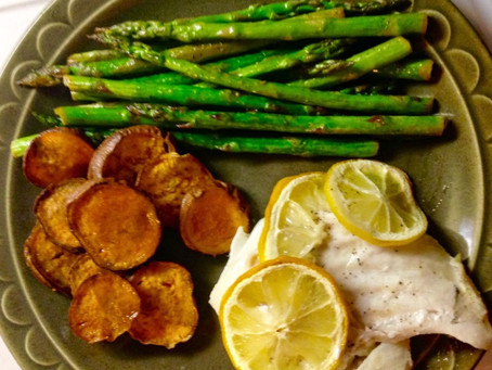 Katy's Baked Cod with Sweet Potatoes and Asparagus