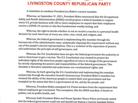 Livingston County Republican Party Resolution Opposing Biden's Vaccination Mandate
