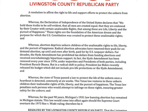 Livingston County Republican Party Resolution Reaffirming Support for the Right-to-Life