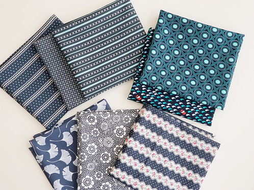Moda & Dear Stella Navy Blue Fat Quarter Bundle (8 pieces)