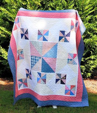 Vintage Pink & Blue Pinwheel Queen/Full Quilt