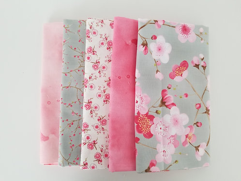 "Moda ""Sakura"" and ""Watercolor"" Yard Bundle (5 pieces)"