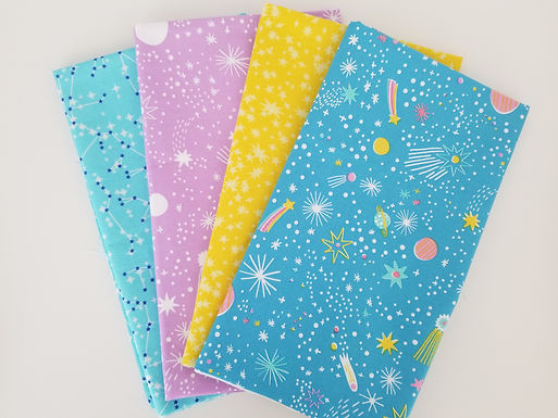 Curated Kaufman and Windham Outer Space Themed Half-Yard Bundle (4 pieces)