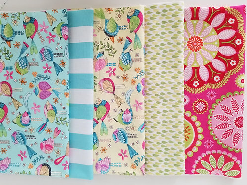 Teal and Yellow with Birds Fat Quarter Bundle (five pieces)
