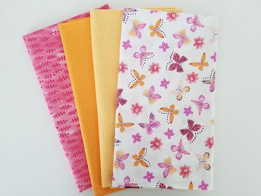 Windham, Timeless Treasures Pink/Orange Butterfly Half-Yard Bundle (4 pieces)