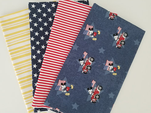 Curated Patriotic Mickey Mouse Half-Yard Bundle (4 pieces) Assorted