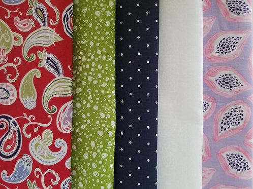 Red paisley Fat Quarter Bundle (five pieces)